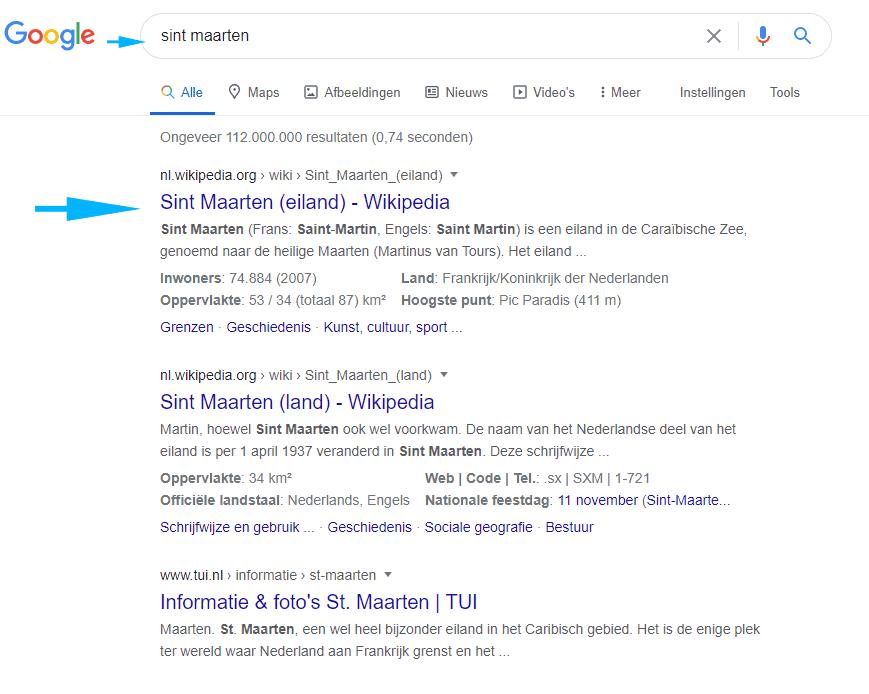 Zoekopdracht Google