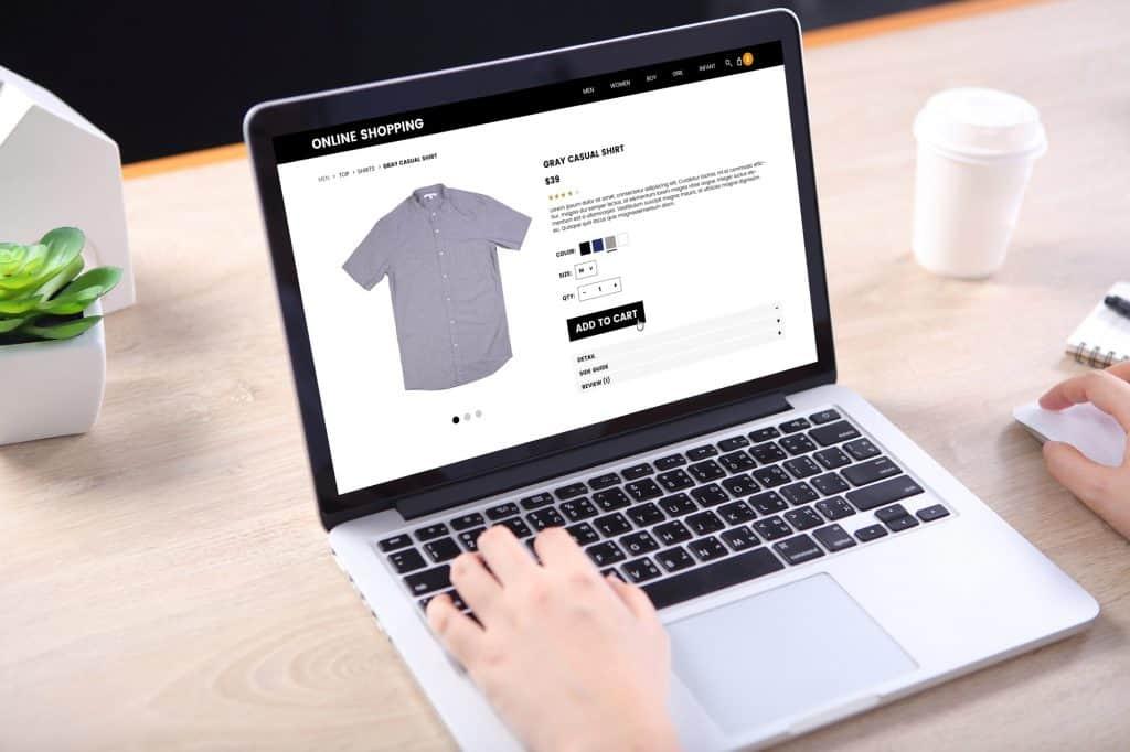 Webshop op laptop